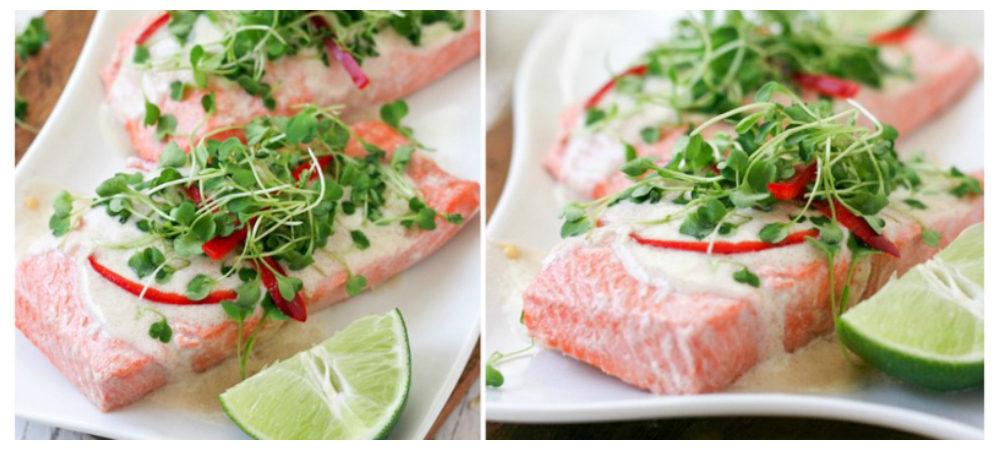 Poached Salmon with Coconut Cream Reduction & Arugula Micro Greens