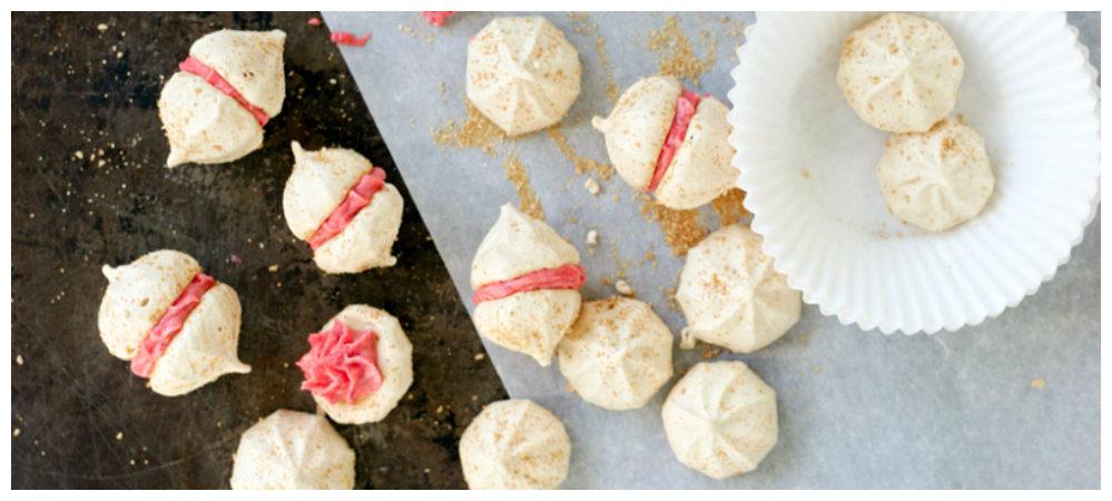 Maple Meringue Kisses w/ Raspberry Frosting