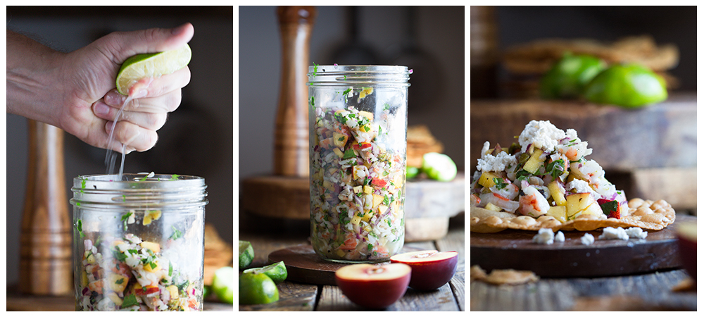 Peach & Hatch Chile, Shrimp Ceviche Tostadas