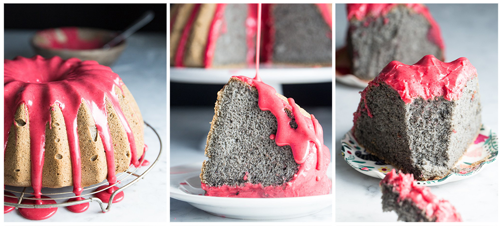 Grain Free Black Sesame Cake with Raspberry Glaze